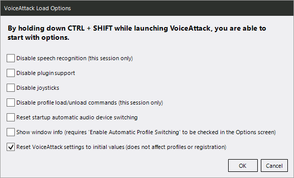 Voice Attack Load Options